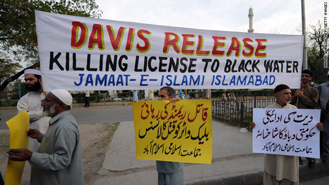 In Islamabad, Pakistan, on Thursday, demonstrators protest the Wednesday release of CIA contractor Raymond Davis.