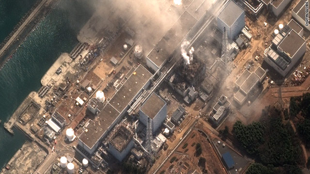 A satellite photo from March 16 shows damage at Japan's Fukushima Daiichi nuclear plant.