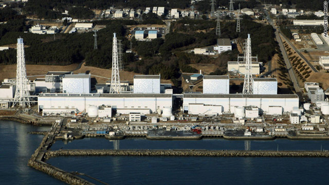 An aerial view shows the quake-damaged Fukushima nuclear power plant on March 12.