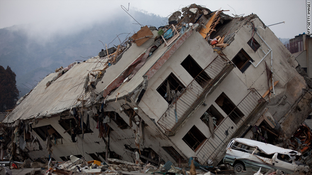 A destroyed building following the massive earthquake and tsunami in Onagawa, Miyagi prefecture on March 30, 2011.