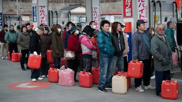 People queue for petrol at a gas station in Yamada, in Japan's Iwate prefecture on Friday, March 25.