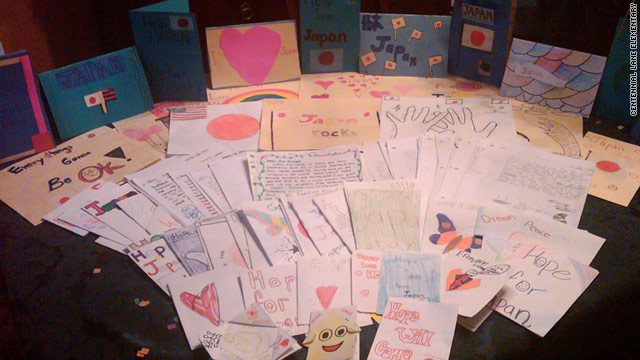 Elementary school students offer comfort for the tsunami survivors in Japan through hand-written letters.
