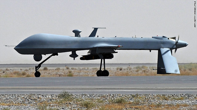 A 2010 file photo of a U.S. Predator drone -- a suspected drone strike killed six suspected militants in Pakistan on Wednesday.