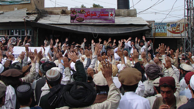 Pakistani tribesmen chant slogans during a protest rally on March 18 against a U.S. drone attack.