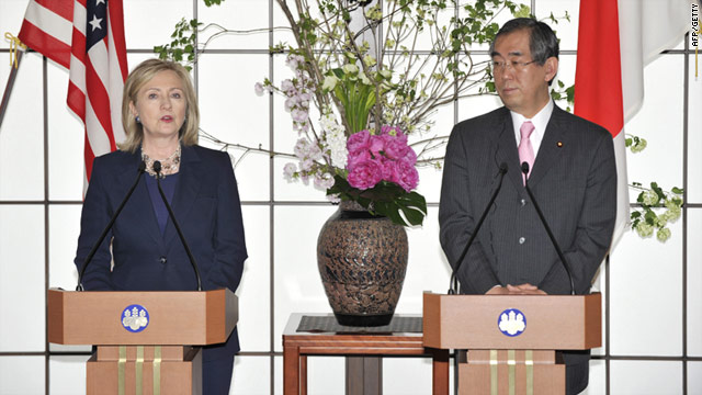 Post-crisis rebuilding: U.S. Secretary of State Hillary Clinton meets Japanese foreign minister Takeaki Matsumoto inTokyo Sunday.
