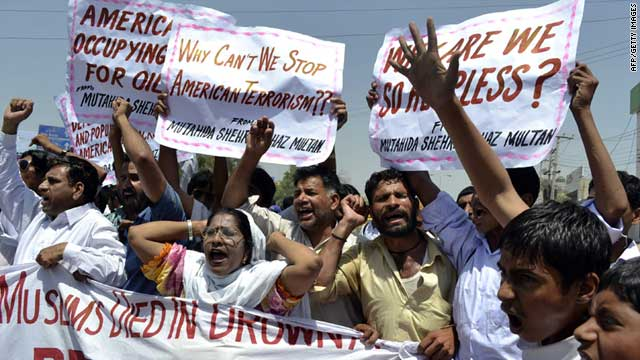 Pakistani protesters shout anti-U.S. slogans during a demonstration Friday in Multan following a suspected drone strike.