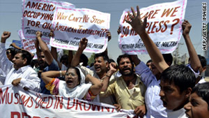 Pakistanis protest U.S. drone attacks in tribal areas Friday, April 22.