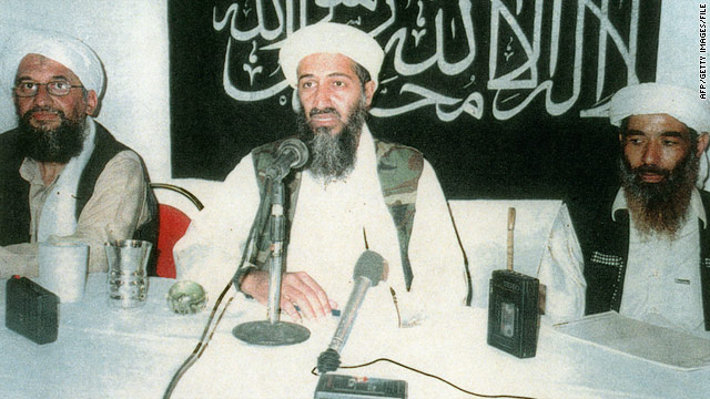 Osama bin Laden, center, with his second in command, Ayman al-Zawahiri, left, and Mohammed Atef in an undated photo.