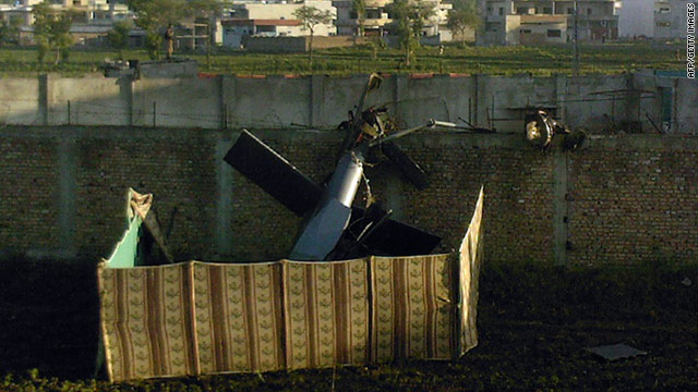 A crashed U.S. military helicopter is seen near the hideout of Osama bin Laden after the raid on his Abbottabad compound.