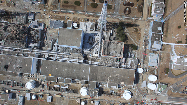 An aerial view of the the damaged Fukushima Daiichi nuclear power plant.