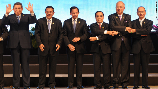 The leaders of the Association of Southeast Asia Nations (ASEAN) stand together for a group photo in Jakarta on Saturday.