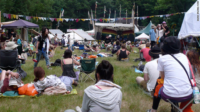 Time to reflect in one of Fuji Rock festival's quiet corners. This year's festival will be the most emotional for its organizers.