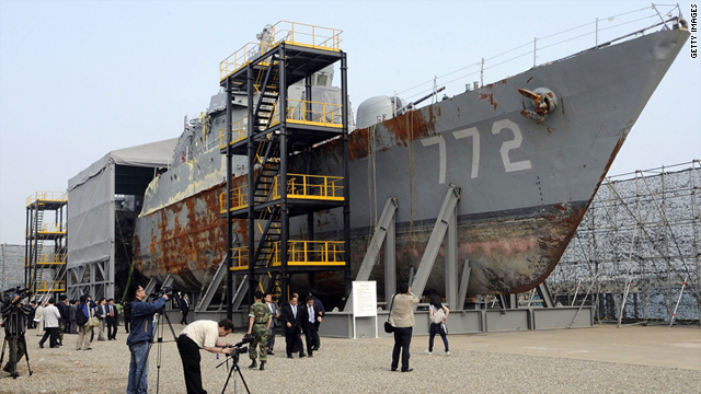 The wreckage of the naval vessel Cheonan pictured on May 20, 2010 in Pyeongtaek, South Korea.