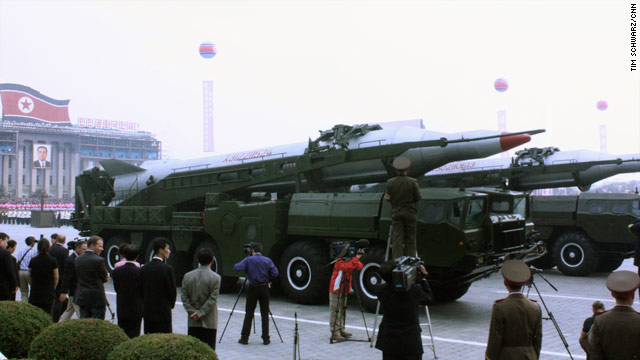 Missiles are prominently displayed during a Workers Party parade in Pyongyang, North Korea, in October 2010.