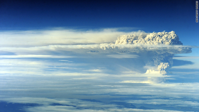 An aerial picture showing the cloud of ash billowing from Puyehue-Cordon volcano, Chile, on June 5, 2011.