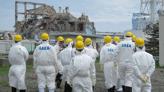IAEA officials tour the grounds of the Fukushima Daiichi nuclear plant on Friday, May 27, 2011.