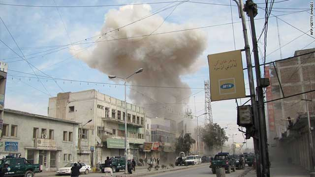 A photo of the area where attackers burst into a branch of Kabul Bank in Jalalabad on February 19, 2011.