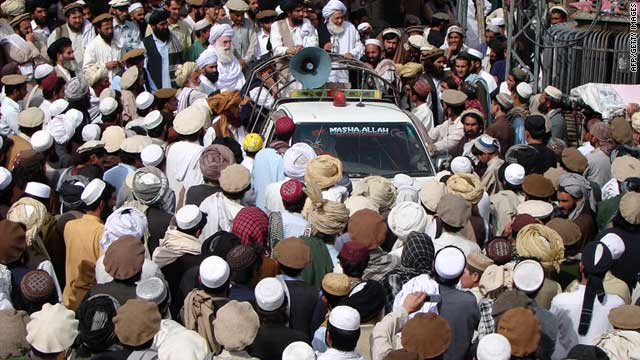 Pakistani tribesmen gather to protest against suspected U.S. drone attacks in North Waziristan on June 16, 2011.