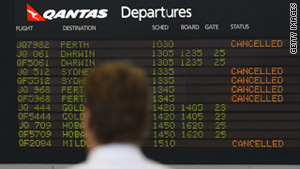 Airlines cancel flights due to volcanic ash at Melbourne Airport on Tuesday in Melbourne, Australia.