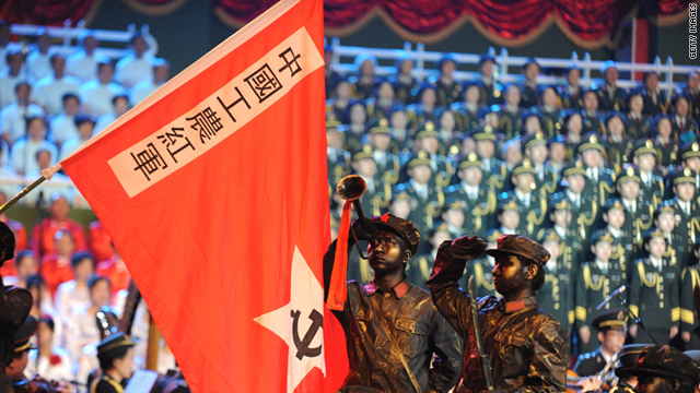 "Soldiers and civilians perform ""red"" songs at Shijingshan Stadium on Tuesday in Beijing, China."