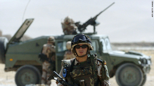 This file picture from October 03, 2004, shows ISAF Spanish soldiers at Mazar-i-Sharif airport, in northern Afghanistan.