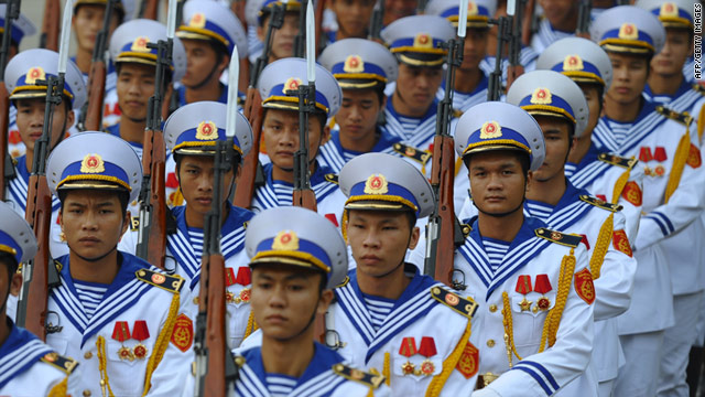 Sailors belonging to the Vietnamese navy march during a ceremony in 2010.