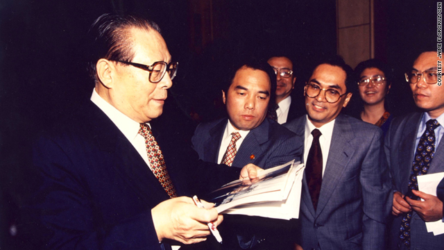 Then-Shanghai mayor Jiang Zemin with Jaime FlorCruz, a TIME Magazine reporter at the time, center at front, in 1985.