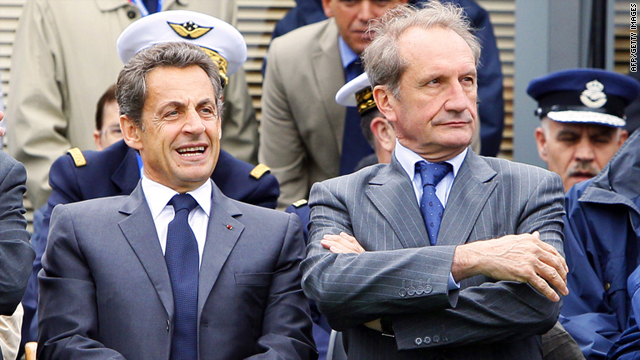 French President Nicolas Sarkozy and Defense Minister Gerard Longuet, right, in Le Bourget, France, on June 20.