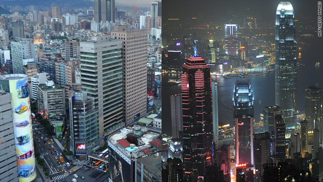 A view of downtown Taipei (pictured left) and the Hong Kong skyline (right).