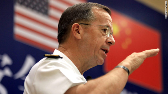 U.S. Joint Chiefs of Staff, Admiral Mike Mullen, speaking in Beijing on Sunday.