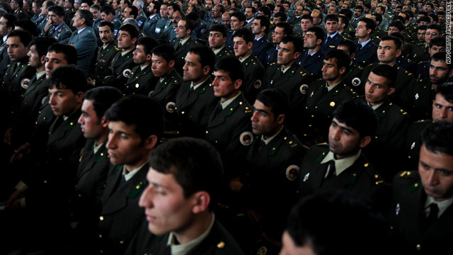 Afghan officers listen to President Hamid Karzai at the National Military Academy in Kabul on March 22.