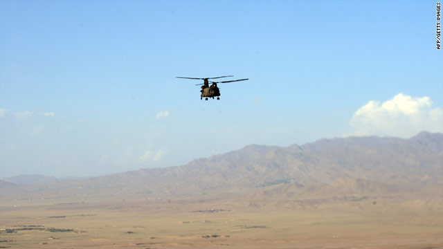 A U.S. chinook helicopter flies past a mountainous area of Afghanistan's Paktika province on July 1.