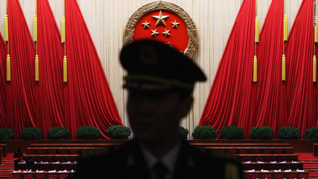 A Chinese military band conductor is seen at a National People's Congress at the Great Hall of the People in Beijing, China.