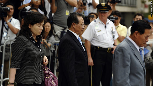 North Korean Vice Foreign Minister Kim Kae-Gwan (center) departs the US Mission to the United Nations on July 28.