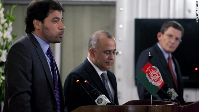 Afghan's Jaweed Ludin, left, Pakistan's Salman Bashir, center, and U.S.'s Marc Grossman address the press.