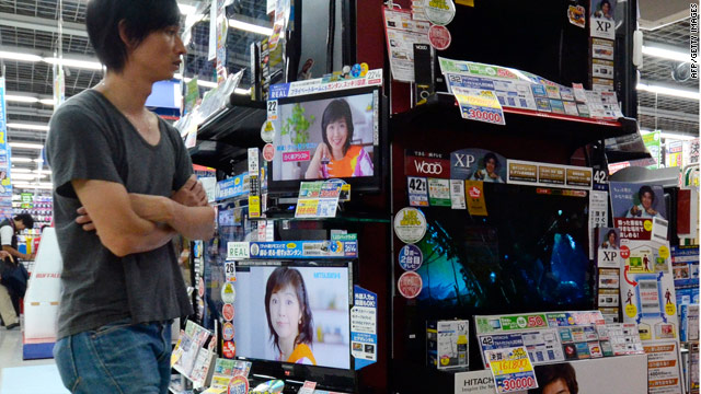 Hitachi's television sets are displayed at an electronics store in Tokyo