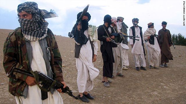 This file photo shows fighters with Afghanistan's Taliban militia at Maydan Shahr in Wardak province, on September 26, 2008.