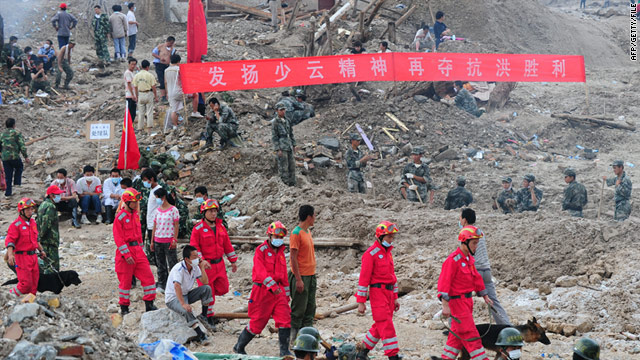 A search and rescue crew working in the aftermath of the landslide in Zhouqu on August 12, 2010.