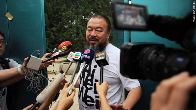 Outspoken Chinese artist Ai Weiwei to speaks to reporters outside his studio in Beijing after his detainment by Chinese authorities.