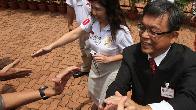 Presidential candidate Tan Jee Say greets supporters during Nomination Day on August 17 ahead of the election.