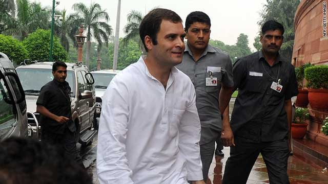Rahul Gandhi, the general secretary of India's governing Congress party, arrives at Parliament in New Delhi on Friday.