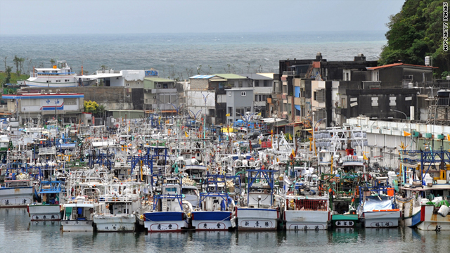 Fishing boats pack the port of Nanfangao, a major fishing village in Taiwan's northeastern Ilan county on Sunday.