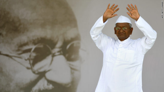 Anna Hazare repeatedly invoked Mohandas K. Gandhi while talking about his anti-corruption movement.
