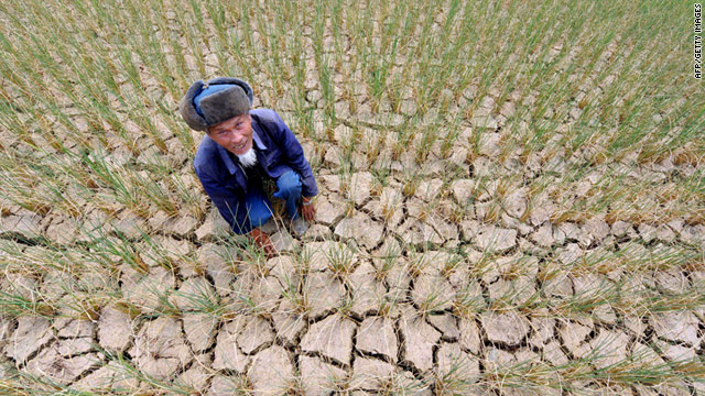 A farmer shows his drought-stricken fields in China's Guizhou province on August 27.