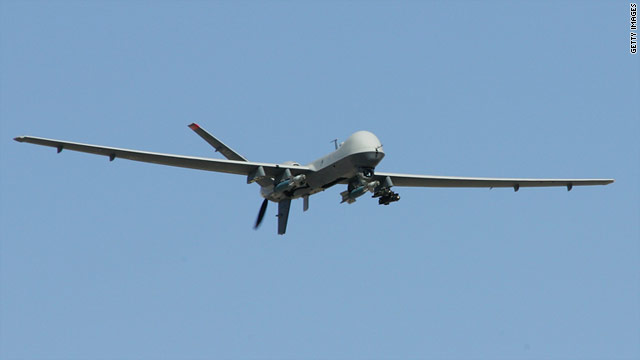 A suspected U.S. drone (shown here in a file photo) fell on Pakistan's tribal region overnight.