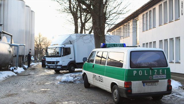 Police raid animal feeds producer Harles and Jentsch on January 4 at its plant in Uetersen, Germany.