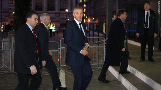 Former British Prime Minister Tony Blair arrived at the inquiry early on Friday, avoiding protesters gathered outside.