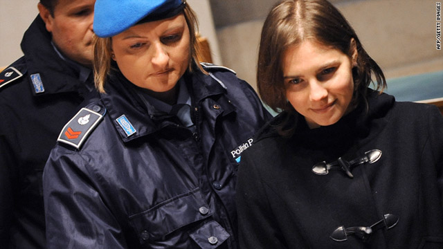 Amanda Knox arrives in court for her appeal trial in Perugia on January 22.