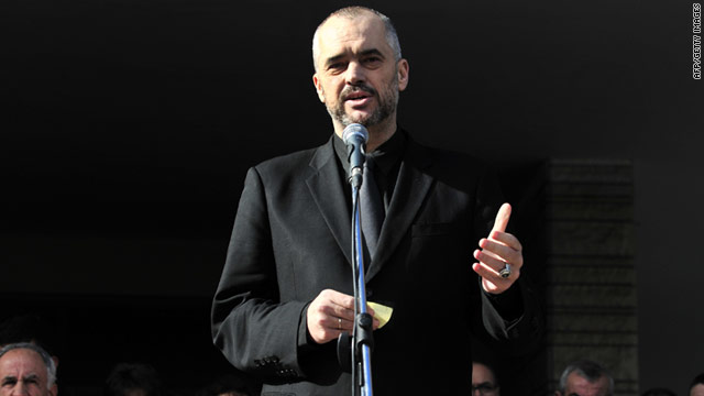 On Sunday, Albanian opposition leader Edi Rama gives a speech during a ceremony for a man killed during riots.