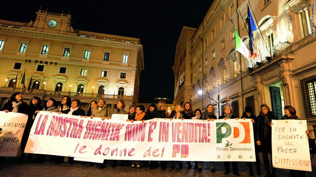 "Protesters In Rome last week with a banner that reads ""Dignity is not for sale."""